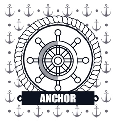 ship wheel steer icon anchor design vector image