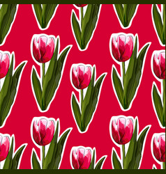 watercolor tulips seamless background vector image vector image