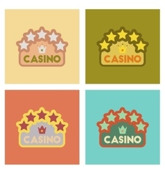 assembly flat icons poker casino sign vector image vector image