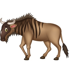 Cartoon adorable wildebeest isolated vector image