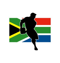 rugby running player flag of south africa vector image vector image