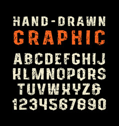 Sanserif font in the style of handmade graphics vector