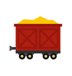cart on wheels with gold icon flat style vector image