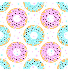 donuts with blue and pink icing vector image