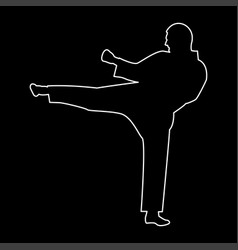 karate man the white path icon vector image