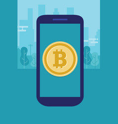 mobile bitcoin on smart phone modern payment vector image