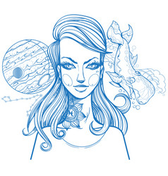 portrait of the girl symbolizes the zodiac sign vector image vector image