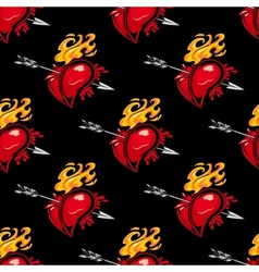 Seamless pattern with hearts and arrows vector image vector image