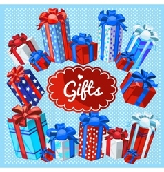 Set of gift boxes on a blue background vector image vector image