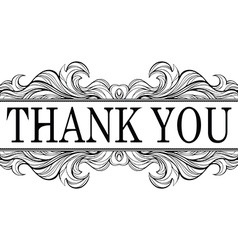 Thank you vintage message with antique frame vector image vector image