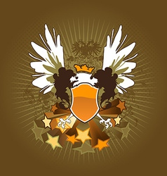 Vintage shield with stars vector image