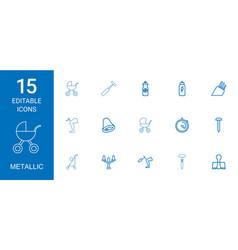 15 metallic icons vector