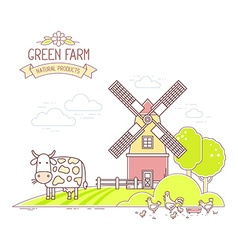 Agribusiness of colorful farm life with natu vector