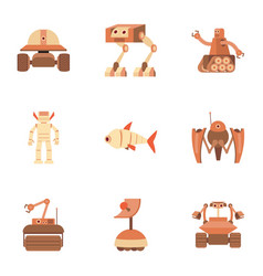 Android icons set cartoon style vector