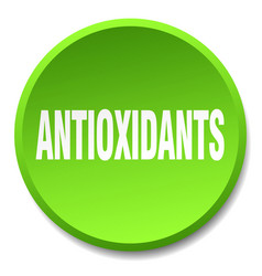 Antioxidants green round flat isolated push button vector