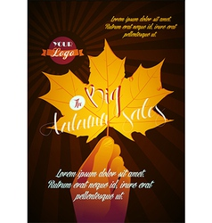 Autumn poster with sale vector
