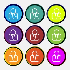 Avatar icon sign Nine multi colored round buttons vector image