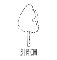 birch icon outline style vector image