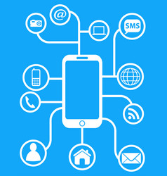 blue smart phone network background vector image