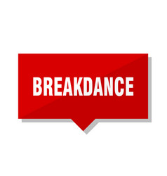 Breakdance red tag vector