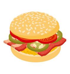burger fresh icon isometric 3d style vector image