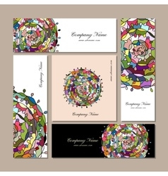 Business cards design floral mandala vector