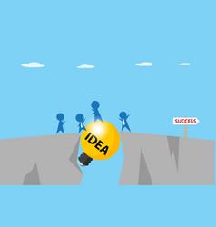 Businessmen pass gap between cliffs idea concept vector