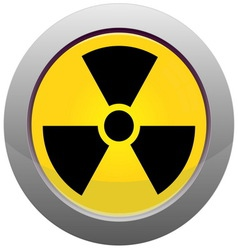 Button with radiation sign vector