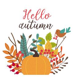 Card hello autumn vector
