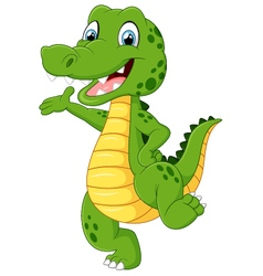 Cartoon funny crocodile waving hand vector image