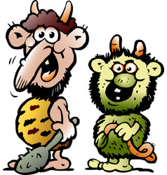 Cartoon of two funny goblins or trolls monsters vector