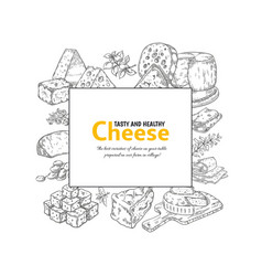 cheese label dairy products hand drawn banner vector image