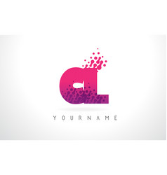 Cl c l letter logo with pink purple color and vector
