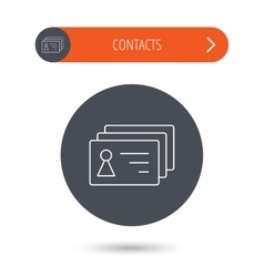 Contact cards icon Identification badges sign vector image
