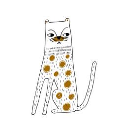 Cute hand drawn cheetah cartoon outline vector