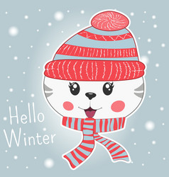 Cute little cartoon kitty in knitted cap and scarf vector