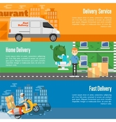 Delivery service horizontal banners set vector image