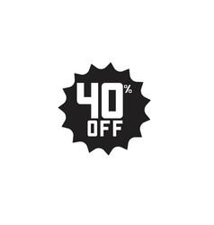 Discount 40 off label template design vector