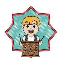 Doodle carnival boy play drum inside star vector