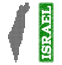 dotted map of israel and grunge rectangle rounded vector image
