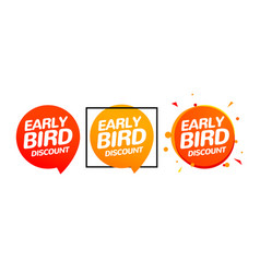 early bird discount special offer sale icon vector image