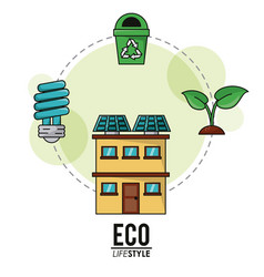 Eco lifestyle house solar panel bulb recycle vector