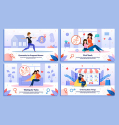 family life in pregnancy flat banners set vector image