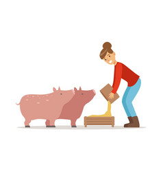 Farmer woman feeding pigs farming and agriculture vector