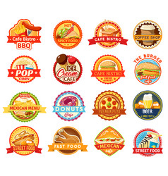 fast food snacks desserts and drink icons vector image