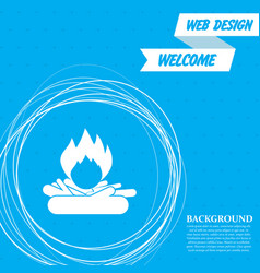 fire icon on a blue background with abstract vector image