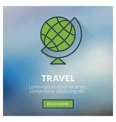 Flat design concept for travel with blurred vector image