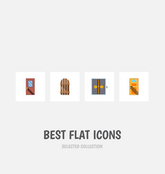 Flat icon approach set exit door loband vector