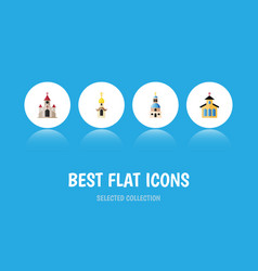 Flat icon christian set of catholic traditional vector