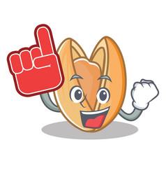 Foam finger pistachio nut mascot cartoon vector